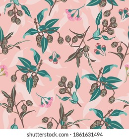 Pink Gumnuts and Eucalyptus Blossom seamless vector repeat pattern