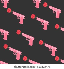 Pink gun with roses. Seamless pattern with pistol on a dark background.