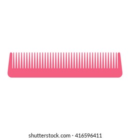 Pink hair comb icon on white background. Hair comb for styling Simple and minimalistic woman hair comb accessory Vector pink comb isolated Simple comp for girl hair care. Vector illustration.