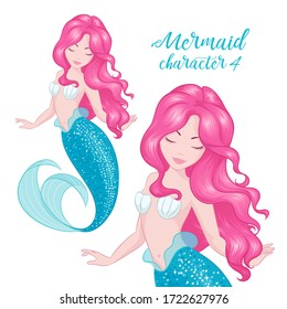 Pink hair mermaid. Cute Mermaid for textile, bags or kids fashion artworks, children books. Fashion illustration drawing in modern style