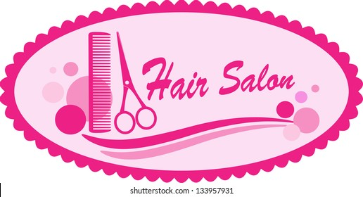 Pink hair salon symbol with scissors and comb