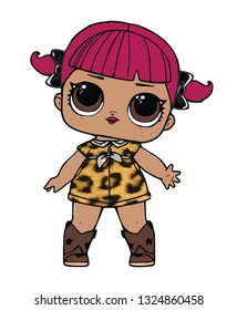 pink haired character lol girl in leopard dress cute