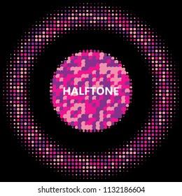 Pink halftone circles, dots pattern, vector, grunge. Comic texture background. Monochrome half-tone. Circle halftone Dots, colorful geometric gradient for pop art designs.