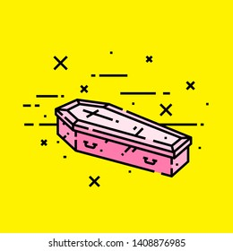 Pink halloween coffin line icon. Spooky vampire casket graphic on yellow background. Vector illustration.