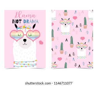 Pink hand drawn cute card with llama,heart glasses and cactus.Llama not drama