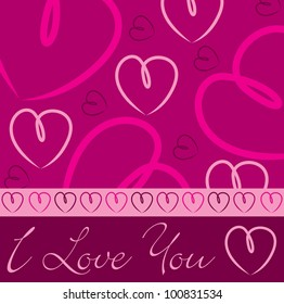 Pink hand drawn heart card in vector format.