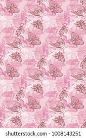 pink handdrawn moth seamless pattern