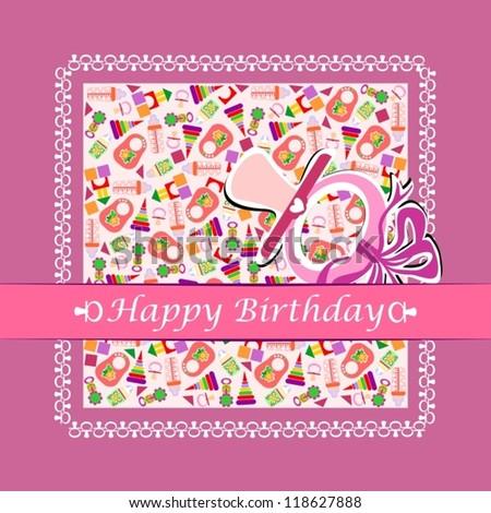 Pink Happy Birthday Card Girls Vector Stock Vector Royalty Free
