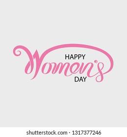 Pink Happy International Women's Day Typographical Design Elements.International Women's day symbol.Design for international women's day concept.Vector illustration