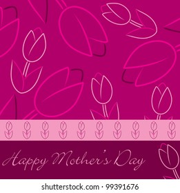 """Pink """"Happy Mother's Day"""" tulip card in vector format."""