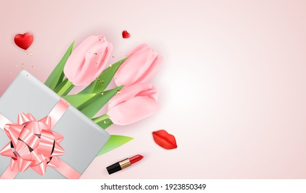 Pink Happy Womens Day Holiday Congratulation Background with Tulips and gift box. Vector Illustration EPS10