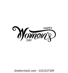 Pink Happy Women's Day Typographical Design Elements. International women's day icon.Women's day symbol. Minimalistic design for international women's day concept.Vector illustration