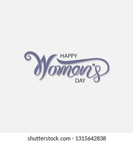 Pink Happy Women's Day Typographical Design Elements. International women's day icon.Minimalistic design for international women's day concept.Vector illustration