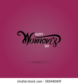 Pink Happy Women's Day Typographical Design Elements. International women's day icon.Women's day symbol.Minimalistic design for international women's day concept.Vector illustration