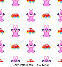 Pink hares with raised paws and red cars seamless pattern on white. Vector colorful wrapping paper of plaything for children