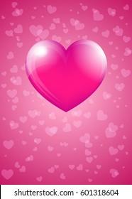 Pink Hart - Heart Card