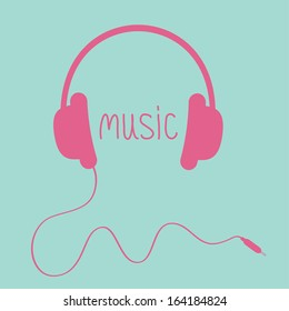 Pink headphones with cord and word Music.  Card. Vector illustration.