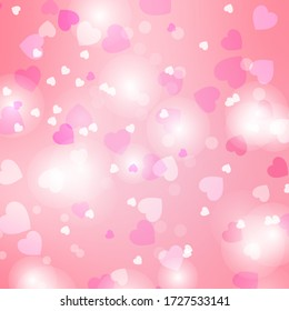 Pink heart bokeh pastel gradient background. Sweet wallpaper for a banner website and social media advertising. valentine concept