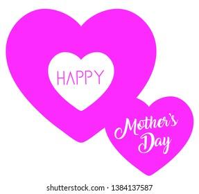 Pink heart happy mother's day vector design