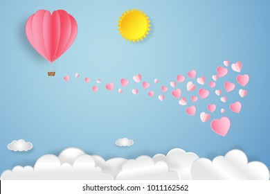 pink heart and hot air balloon, sunny on blue sky background as love, valentine's day, wedding and paper art concept. vector illustration.