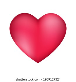 Pink heart, isolated on white background, vector illustration.