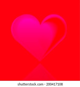 Pink heart on red background