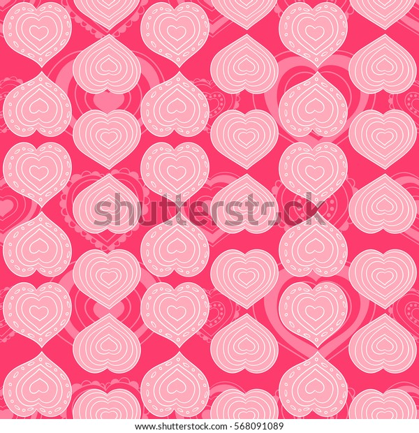 Pink heart pattern vector seamless. Doodle print on rose background. Design for valentines day cards, wallpaper, fabric and wrapping paper.