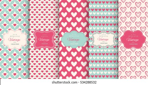 Pink heart seamless pattern background. Vector illustration for holiday design. Abstract romantic photo frame. Stylish decorative bright label set. Fashion valentine day ornament.
