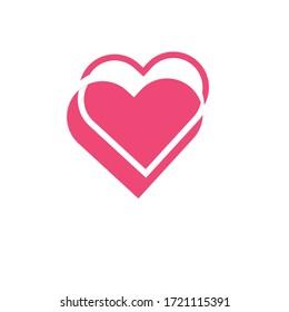 pink heart shape logo icon vector illustration for love gift valentine card romance