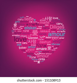 """pink heart shape word cloud made of words """"love"""" in world languages"""