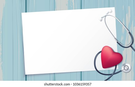 Pink heart and stethoscope on blue wooden baclground. Happy nurse day. Vector illustration
