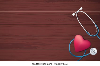 Pink heart and stethoscope on brown wooden background. Happy nurse day concept. Vector illustration