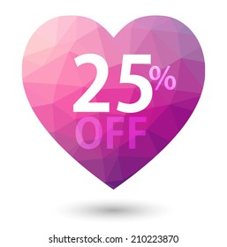 Pink heart. Triangular price vector bookmark 25 percent sale off. isolated with shadow.