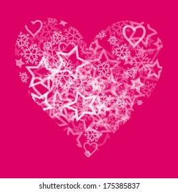 Pink Heart Valentine Card with white stars and snowflakes