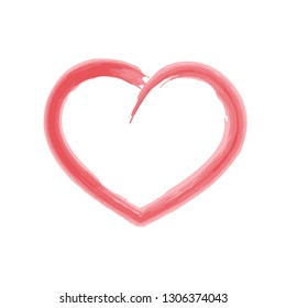 Pink heart. Vector icon watercolor brush imitation for medical apps, graphic design, banners, flyers, posters, covers or template. Isolated on white background. Web site, UI. EPS10.