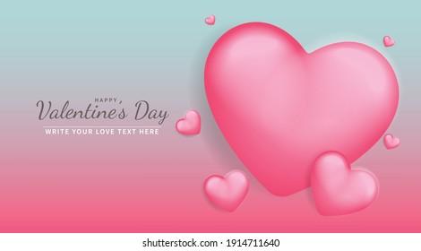 rosafarbener Herz, Vektorhintergrund mit blauer Vorlage für Hochzeit und Valentin