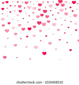 Pink Hearts Confetti Falling on White Background. Valentine's Day Pattern. Romantic Scattered Hearts Design Element. Love. Sweet Moment. Cards, Banners, Posters, Flyers, Sales, Brochure, Wallpaper.
