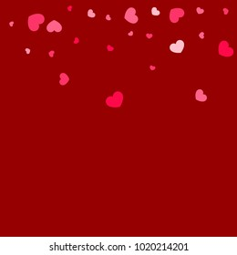 Pink Hearts Confetti Falling on Red Background. Valentine's Day Pattern. Romantic Scattered Hearts Cute Texture. Love. Sweet Moment. Gift. Wedding. Anniversary, Birthday. Vector Illustratuion.
