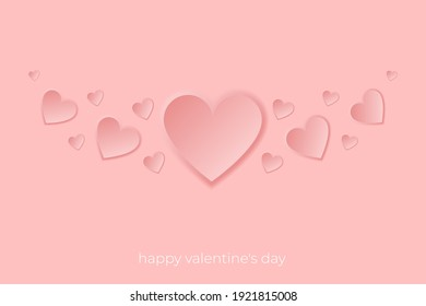 Pink hearts on a red background, Valentines hearts postcard. Paper flying elements on pink background. Vector symbols of love in shape of heart design.