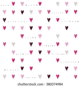 pink hearts on white background regular horizontal rows romantic Valentines Day seamless pattern
