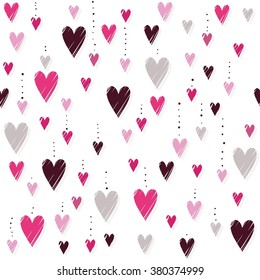 pink hearts on white background messy vertical rows romantic Valentines Day seamless pattern