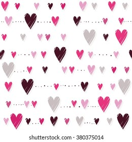 pink hearts on white background messy horizontal rows romantic Valentines Day seamless pattern