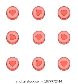 Pink hearts pills candy seamless pattern. Valentines day heart cakes pattern background