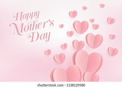 Pink hearts postcard. Paper flying elements on pink background. Happy Mother's Day greeting card. vector