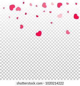 Pink Hearts Random Falling on Transparent. Valentine's Day Pattern. Romantic Scattered Hearts Design Element. Love. Sweet Moment. Gift. Wedding. Anniversary, Birthday. Vector Illustratuion.