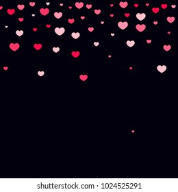 Pink Hearts Random Falling On Black Background Valentines Day Pattern Romantic Scattered Cute
