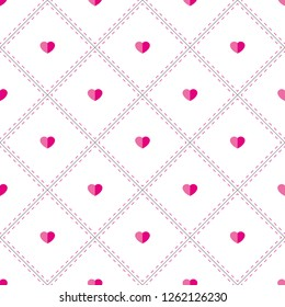 d5a75c0cdb0 Pink hearts and rhombuses on white background. Seamless vector pattern.