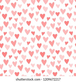 Pink hearts seamless pattern. Concept of Baby Shower, birthday, love, Valentines Day, texture, background, wallpaper, wrapping paper, print for clothes, cards, banner. Vector illustration for girl