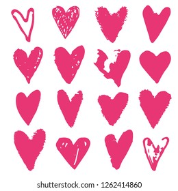 Pink hearts. Sketch, hand drawn isolated on white background. Valentines day design element set