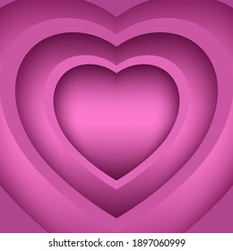 Pink heart-shaped paper cut into 3 layers with shadows on the background. Abstract pattern, template for business card, cover, brochure, flyer, poster, wallpaper, web design. Vector illustration.